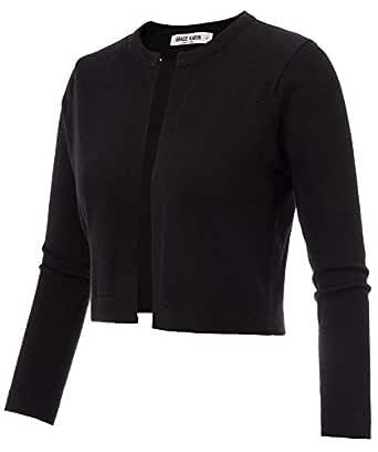 GRACE KARIN Women's 3/4 Sleeve Open Front Knit Cropped Bolero Shrug Cardigan Sweater - Black - Small
