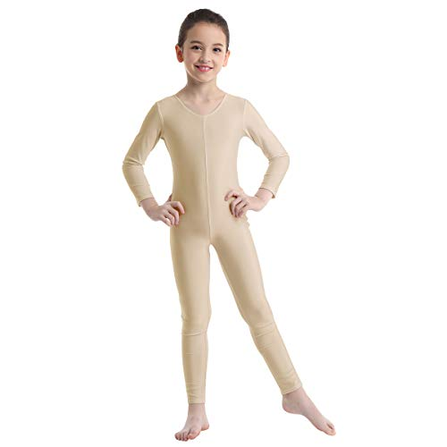winying Girls Boys Spandex Crew Neck Full Body Unitard Gymnastics Leotard Catsuit Nude 5-6]()