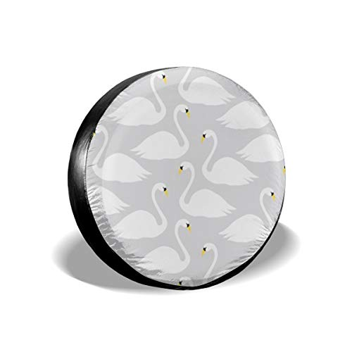Spare Tire Cover, Simple White Swan Pattern Printing Wheel Protectors PVC Waterproof Dustproof for Jeep Trailer SUV RV and Many Vehicles(14,15,16,17 Inch)