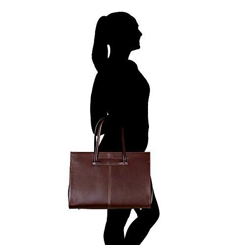 Mujer Maletín con correa de hombro en cuero genuino Made in Italy Chicca Borse 39x30x11 Cm Marron oscuro