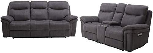 - Parker Living - Mason Carbon Dual Power Reclining Sofa Set - MMAS#832PH-822CPH-CRB