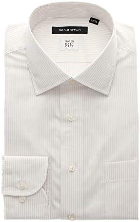 (ザ・スーツカンパニー) SUPER EASY CARE/ワイドカラードレスシャツ ストライプ 〔EC・BASIC〕 ホワイト×ベージュ
