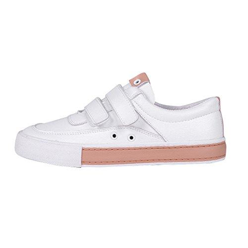 Buganda Womens Fashion Velcro Low Top Casual Shoes Flat Sports Faux Leather Sneakers White 2 WXV66kDAQq
