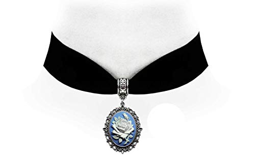 (Victorian Vault Rose on Blue Cameo Gothic Steampunk Victorian Pendant on Choker)