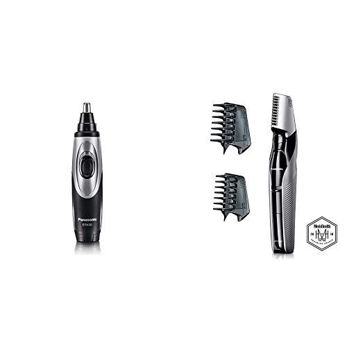 Panasonic Nose Hair Trimmer and Ear Hair Trimmer ER430K, Vacuum Cleaning System, Men's, Wet/Dry, Battery-Operated AND Panasonic Electric Body Hair Trimmer and Groomer for Men Cordless, Wet/Dry by Panasonic