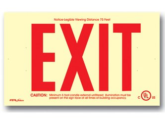 Photoluminescent Exit Sign 50' Viewing Distance Red ESW-PL-101-R - No Electricity - Code Compliant - UL Listed - With Arrows -Made in the USA