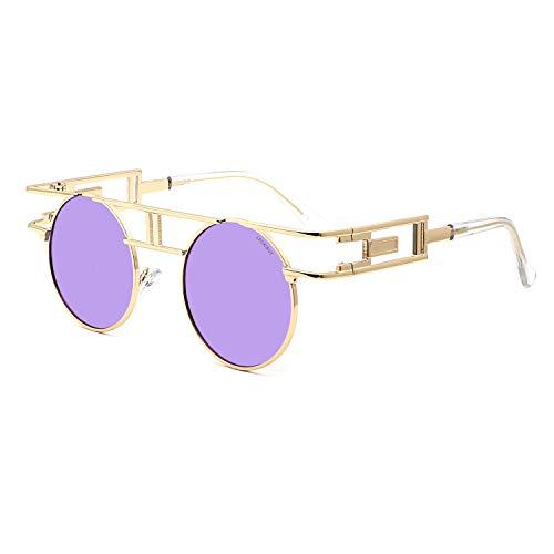 Leckirut Women Men Round Sunglasses Retro Vintage Steampunk Style Mirror Reflective Circle lens golden frame/purple lens