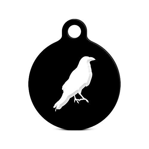 (Crow Round Keychain with Tab engraved raven blackbird Black)