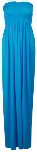 Purple Hanger Women's Boob Tube Bandeau Strapless Maxi Dress Turquoise 8-10 -