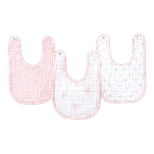"aden by aden + anais Snap Bib, 100% Cotton Muslin, Soft Absorbent 3 Layers, Adjustable, 9"" X 13"", 3 Pack, Doll"