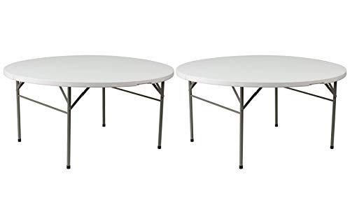 Contemporary Design Commercial Grade Folding Round Table Durable Blow-Molded Plastic Top Solid Powder Coated Steel Frame Indoor-Outdoor Home Office Furniture - Set of 2/60
