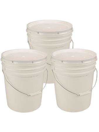 Living Whole Foods 5 Gallon White Bucket & Lid - Set of 3 - Durable 90 Mil All Purpose Pail - Food Grade - Contains No BPA Plastic ()