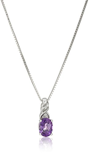 (Sterling Silver Genuine African Amethyst Oval Cut 8x6mm and Created White Sapphire Chain Pendant Necklace, 18