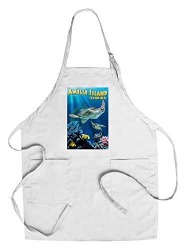 Designs Amelia Apron - Amelia Island, Florida - Sea Turtle Swimming (Cotton/Polyester Chef's Apron)