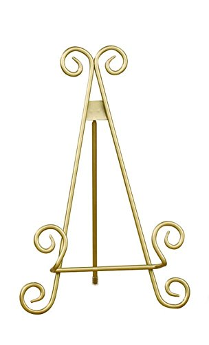 "9"" Gold Finish Stratford Metal Plate Photo Display Easel Sta"