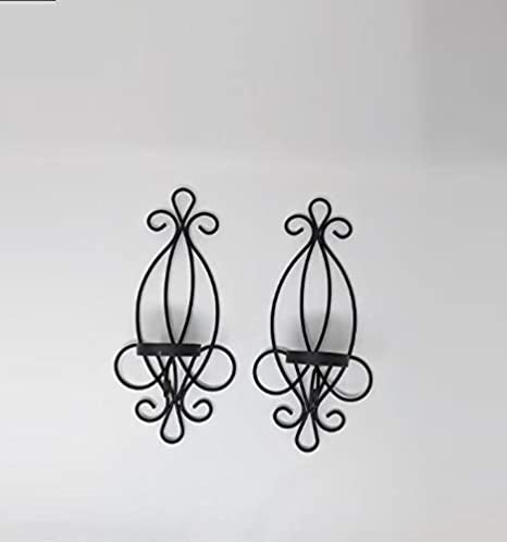 Set of Two Metallic Ornamental Decorative Sconces NEW