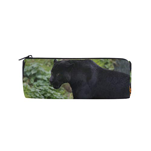 Pencil Case Halloween Panther Zippered Pencil Box Round Stationery Bag Makeup Cosmetic Bag for Students/Women -
