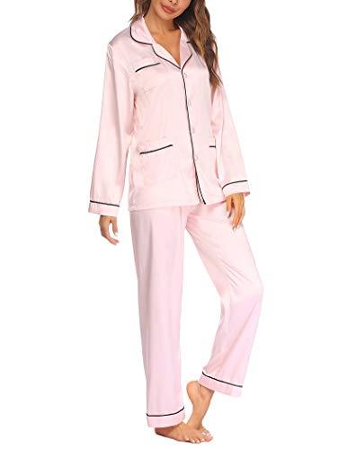 Ekouaer Satin Pajama Set for Women Long Sleeve Sleepwear Silk Button Down Nightwear Loungewear Soft Pjs Sets S-XXL