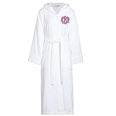 Classy Bride Monogrammed Terry Velour Hooded Bath Robe - White