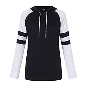 SUNNYME Womens Baseball Tee Long Sleeve Raglan Shirt Crew Neck Striped Tunics Casual Blouses Tops