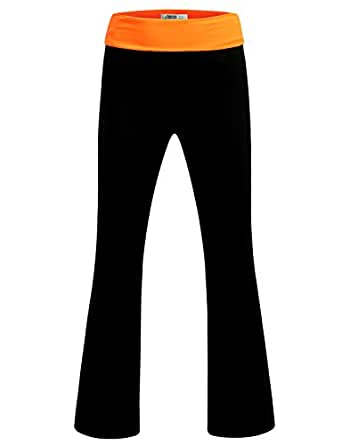 J.TOMSON Women's Basic Stretch Lounge Yoga Pants with Contrast Elastic Waist Band NEONORANGEBLACK S