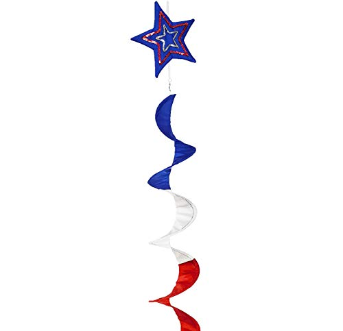 OUTOUR USA Star Spiral Wind Spinner 60 Inch Fourth of July American Flag Includes Curlie Tail Independence Day Hanging Decoration 4th of July Patriotic Party for Garden Patio Lawn Backyard