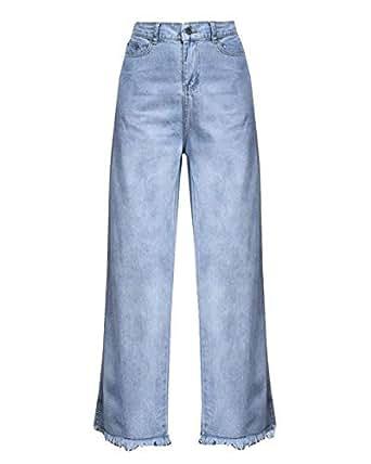Pantalones Vaqueros Rectos para Mujer Pantalones De con Alta ...