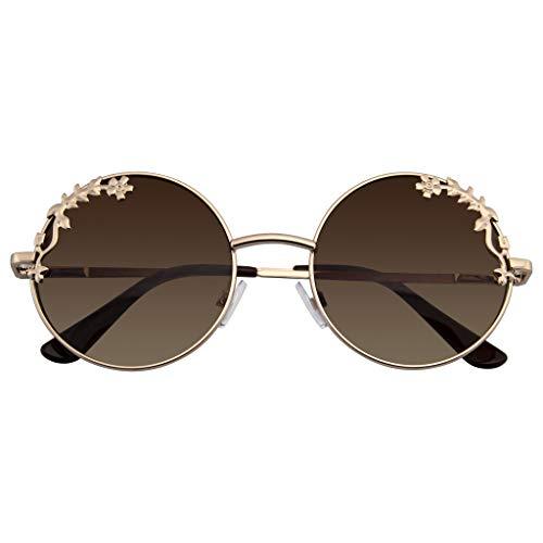 Emblem Eyewear - Womens Flower Floral Boho Round Mirror Sunglasses ()