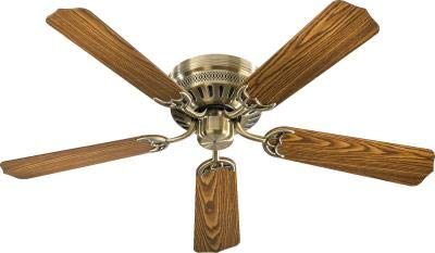 "Quorum 11525-4 Custom Hugger - 52"" Ceiling Fan, Antique Brass Finish with Dark Oak/Medium Oak Blade Finish"