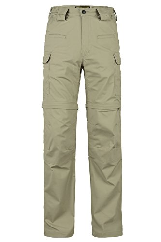 (HARD LAND Men's Convertible Hiking Pants Waterproof Lightweight Zip-Off Outdoor Ripstop Cargo Shorts Elastic Waist (36W×32L, Khaki) )