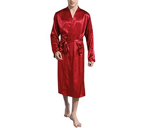 Pigiama Da Availcx Plus Size Autunno Notte Camicia Estate Primavera Accappatoio Seta Raso Cinese Maschio Lusso Red Di Kimono Unita Mens Abito Tinta vSYrqxBTvw