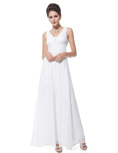 Ever-Pretty Elegant Women V Neck Shift Dresses for Juniors 14US White