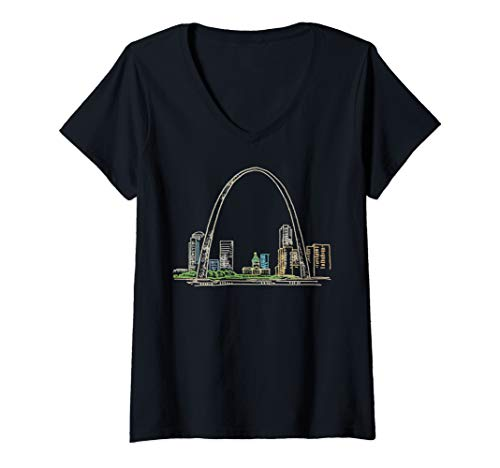 - Womens Gateway Arch St Louis V-Neck T-Shirt