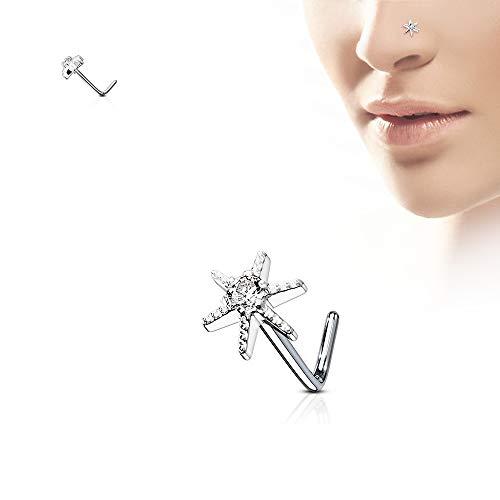 WILDKLASS CZ Centered Starburst 316L Surgical Steel L Bend Nose Stud Rings ()