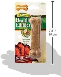 4 Pack Nylabone Healthy Edibles Dog Chew Treat Bones for Wolf Medium Size Dogs Roast Beef
