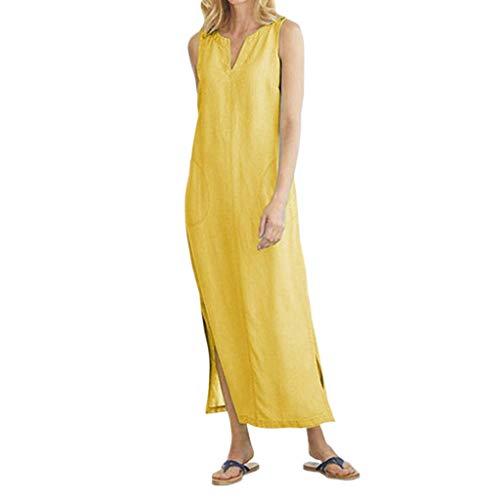 Sunhusing Women's Sleeveless V-Neck Solid Color Cotton Hemp Side Split Hem Pocket Stitching Casual Dress Yellow