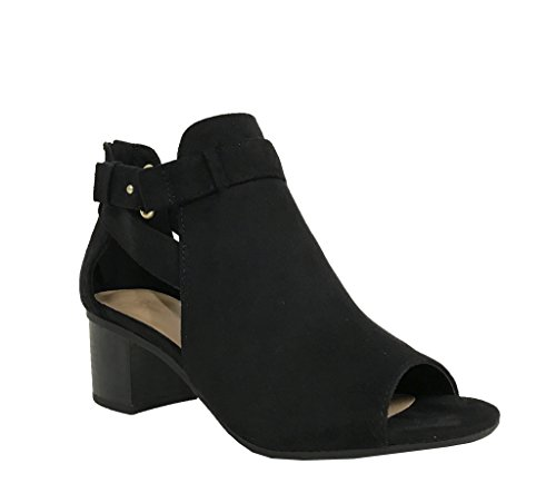 City Classified Women's Cutout Side Strap Mid Black Chunky Heel Fashion Ankle Bootie Boots Black 7 ()
