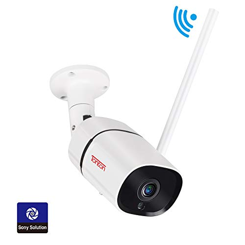 [2019 Newest] Tonton 1080P FHD WiFi IP Security Bullet Camera Outdoor, 2-Way Audio, Waterproof and Motion Detection, Full Color Night Vision and Metal Shell, Support Max 128GB Micro SD Card (Best Outdoor Ip Security Cameras 2019)
