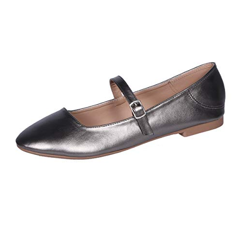 CINAK Flats Mary Jane Shoes Women's Casual Comfortable Walking Buckle Classic Ankle Strap Style Ballet Slip On Dark Silver ()