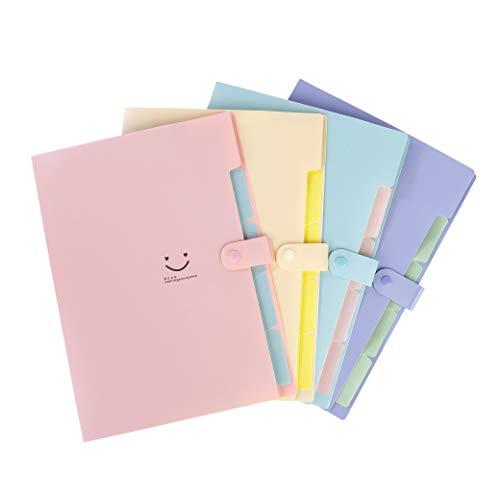 Clasificadores Carpetas de Acordeon 5 Bolsillos Capacidad Extensible Portatil Organizador Documentos, Multi-Color Archivador A4 Gran para Oficina, escuela, hogar