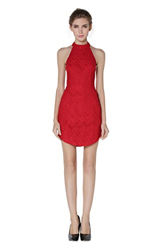 Little Smily Women's Sexy Lace Overlay Slim Fit Halter Low Back Mini Dress, Red, M