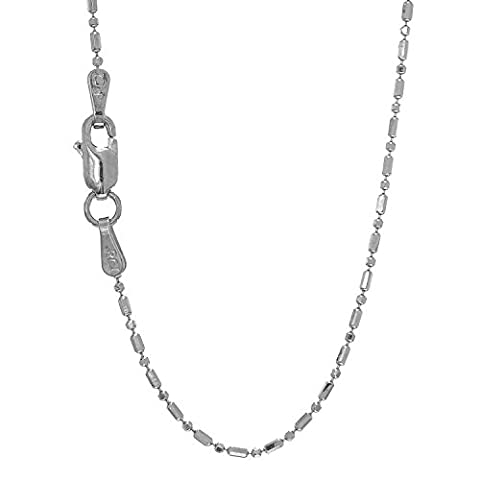 JewelStop 14k Solid White Gold 1 mm Diamond-cut Bar & Bead Ball Chain Lobster Claw-18