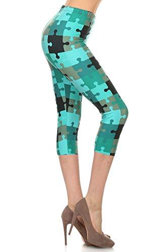 R651-CA-PLUS Teal Puzzles Capri Print Leggings