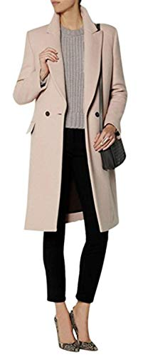 CHANGLIU LIN Women's Winter Double Breasted Slim Long Lapel Overcoat Wool Blend Thick Coat (l, Beige) -
