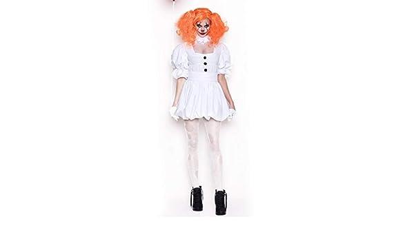 JXJ Payaso Vestido Blanco/Halloween Fantasma Muñeca Payaso Disfraz ...