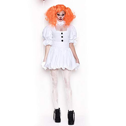 Clown White Dress/Halloween Ghost Doll Clown Costume Adult COS Performance Costume White Dress Vampire Ghost Bride Including Gloves Tie Belt Wig,XL -