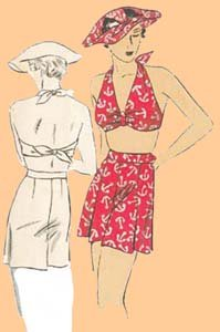 1935 Beach Ensemble - Ladies' Hat, Bandeau and Shorts (Golden Bandeau)