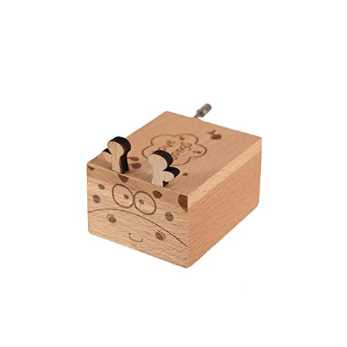 Gotian Wooden Hand Music Box Crafts Retro Excellent Quality Simple Elegant Hand Music Box Birthday Gift Home Decoration Accessories Ideal Decoration in Living Room Coffee Table (B)