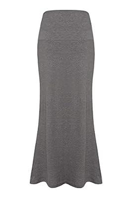 ACEVOG Women's Rayon Span Maxi Skirt Solid Straight Stretch Long Skirt Dress