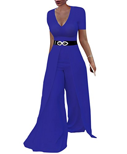 Dreamparis Womens Wide Leg Jumpsuits Romper Long Sleeve High Waisted Flare Palazzo Pants Suit Blue L ()